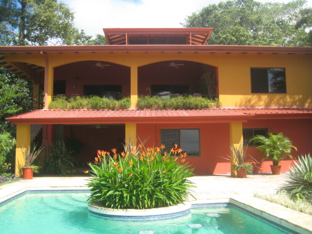 Dominical real estate, uxury home for sale, vacation rental, ocean view home, with pool, caretaker house, gated, private, acreage, close to main road, quepos, dominical, airport, easy access, well built, 4 bedroom, 4 bath, rancho